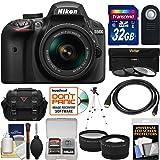Nikon D3400 Digital SLR Camera & 18-55mm VR DX AF-P Zoom Lens with 32GB Card + Case + Tripod + Filters + Tele/Wide Lens Kit