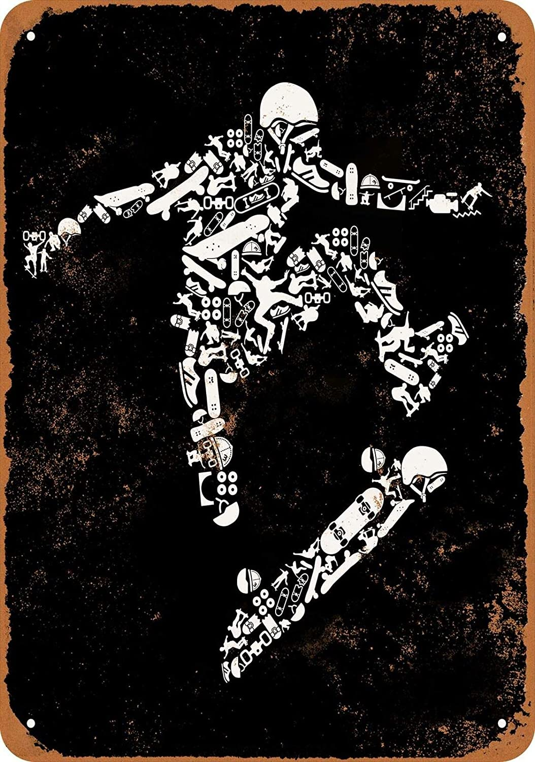 Skateboarder Made of Skateboard Icons Metal Poster Plaque Vintage Tin Sign Wall Decor 12x8 Inches