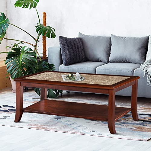 Olee Sleep 18″ Crema Cappuccino Natural Marble Top Solid Wood Edge Coffee Table/ End Table/ Side Table / Dining Table / Sofa Table/ TV Table / Vanity Table