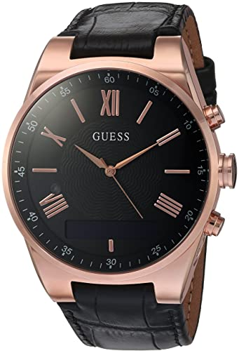 GUESS Mens Stainless Steel Connect Smart Watch - Amazon Alexa, iOS and Android Compatible, Color: Black (Model: C0002MB3)