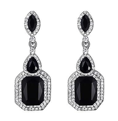 8eacb8087 BriLove Wedding Bridal Clip On Earrings for Women Crystal Emerald Cut  Infinity Figure 8 Chandelier Dangle Earrings Black Black-Silver-Tone:  Amazon.ca: ...
