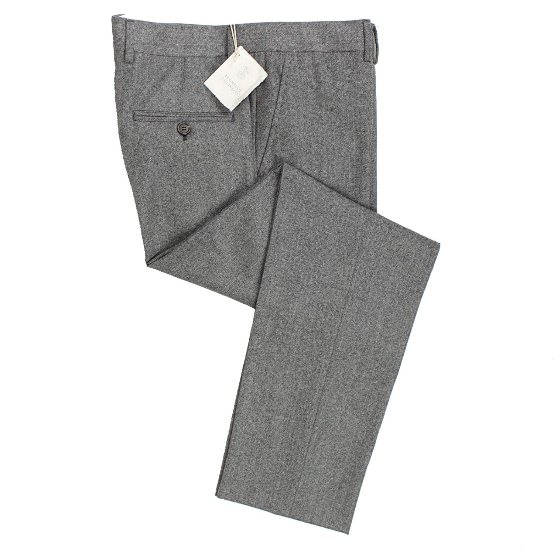 Brunello Cucinelli Mens Wool Herringbone Dress Pants //50 34 Gray