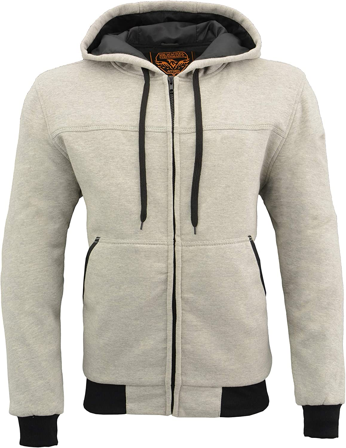 SILVER, LG Milwaukee Leather Zippered Hoodie mens With CE Approved Removable Reinforced Shoulder /& Elbows Pads