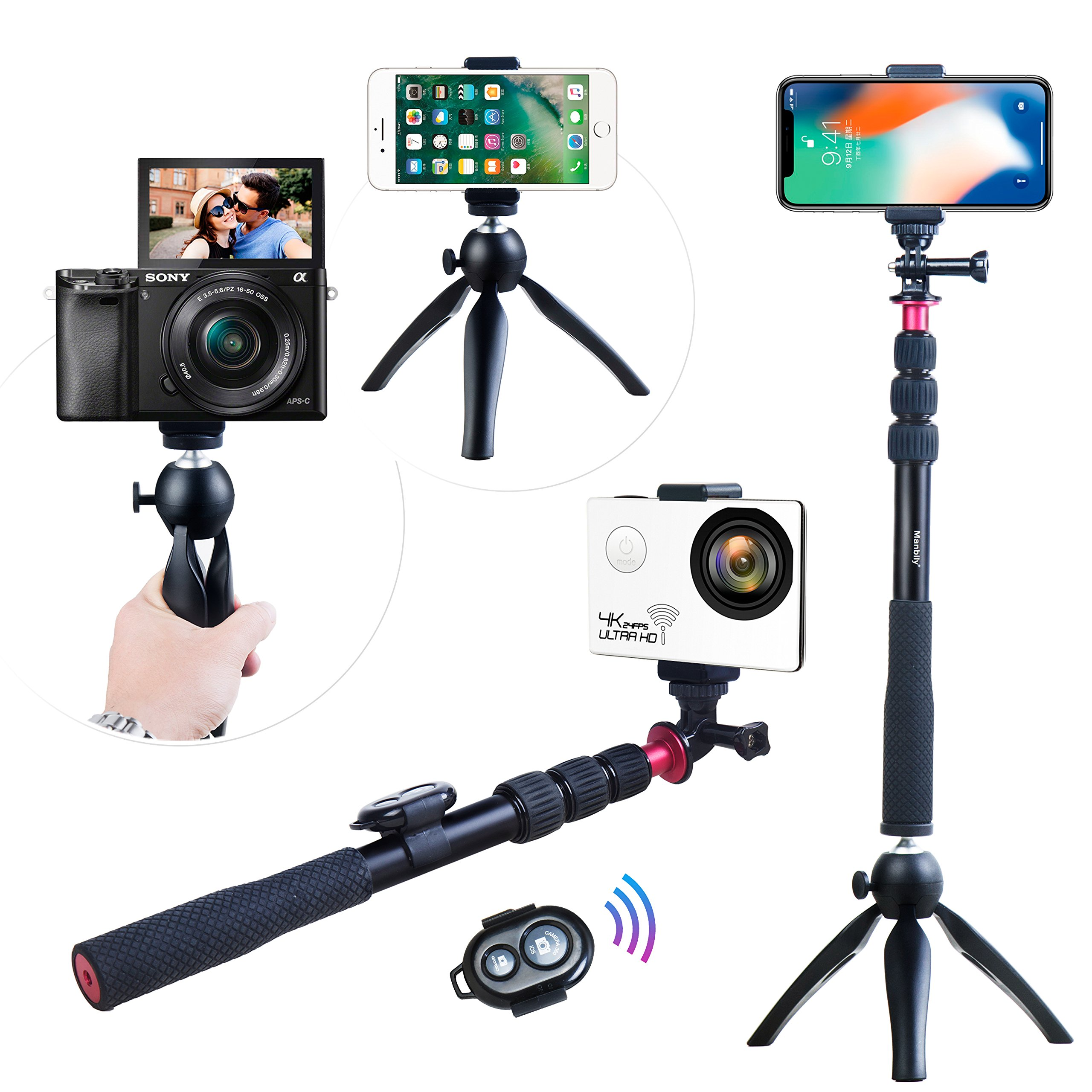 Selfie Stick,Andoer Phone Tripod for iPhone X/8/7 Plus for Samsung S8 for GoPro Hero 6/5/4/3+/3 Action Camera/ Digital Camcorder Video Mini Tripod + Phone Tripod Mount + Wireless Remote Control Valent