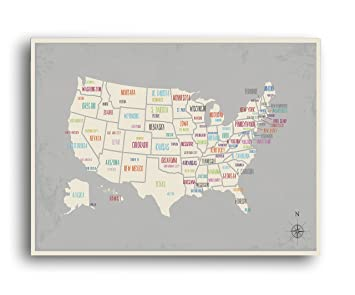 USA Wall Map Art Print, 24x18 Inches,Kid\'s USA Wall Map,Children\'s Room  Decor, Gender Neutral, Travel Nursery Decor,United States of America Map,  ...