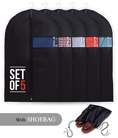 f4e385f01f1c Garment Bags with Shoe Bag - Breathable Garment Bag Covers Set of 5 for  Suit Carriers, Dresses, Linens, Storage or Travel - Suit Bag with Clear  Window