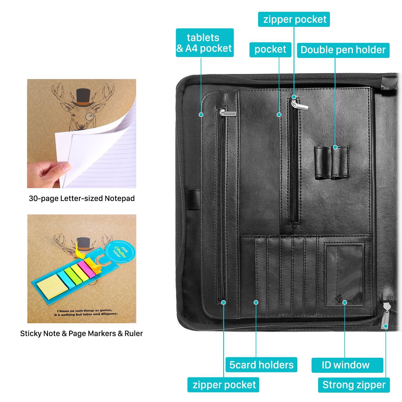 Business Padfolio Folder, Ohuhu Portfolio Organizer with Letter-size ...