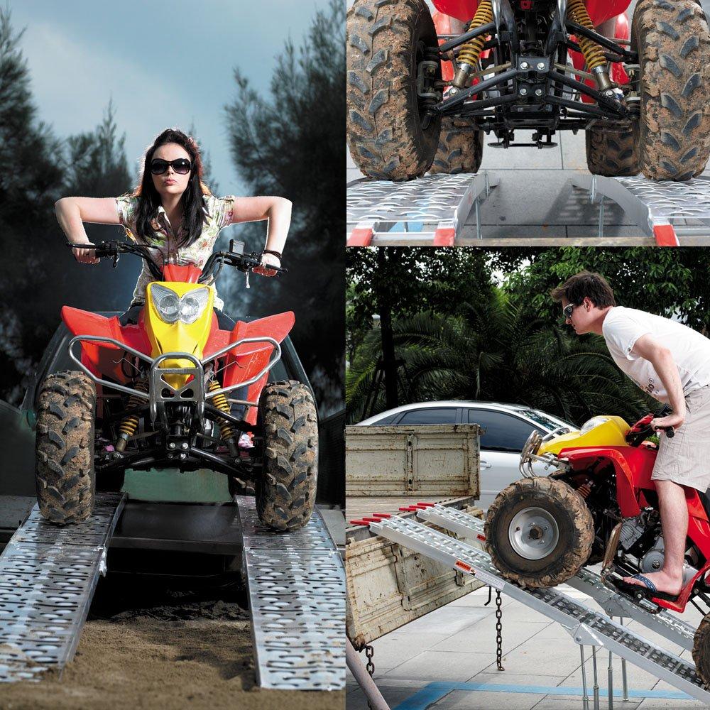 2x Auffahrrampe f/ür Motorrad ATV faltbar aus Aluminium mit F/ü/ßen 226 cm lang bis zu 1360 kg