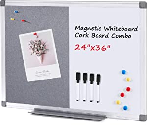 Swansea Magnetic Whiteboard Combination Frabic Pin Noticeboard Office Home School with Dry Erase Pen + 6 Pins,Gray,90x60cm