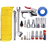 "WYNNsky Air Compressor Accessory Kit, 1/4"" NPT Air Tool Kit w/1/4""x25Ft Coil Nylon Hose /Blow Gun/ Tire Gauge - 20 Piece"