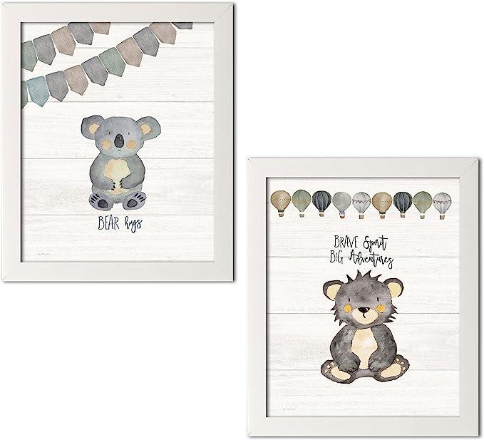 Amazon Com Gango Home Decor Vertical Bear Hugs Brave Spirit By Jo Moulton Ready To Hang Two 11x14in White Framed Prints Posters Prints