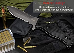 Oerla Tactical OL-0021SD Fixed Blade Knives Outdoor Duty Knife 420HC Stainless Steel Field Knife Survival Camping Knife Double Sided Blade with G10 Handle Waist Clip EDC Kydex Sheath (Black) (Color: Black, Tamaño: Small)