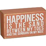 Primitives by Kathy Box Sign, 3 by 5-Inch, Happiness is