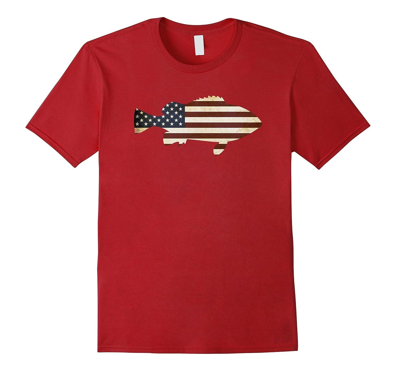 Cute American Flag Fish T Shirt - 4th of July Fishing Gift-PL