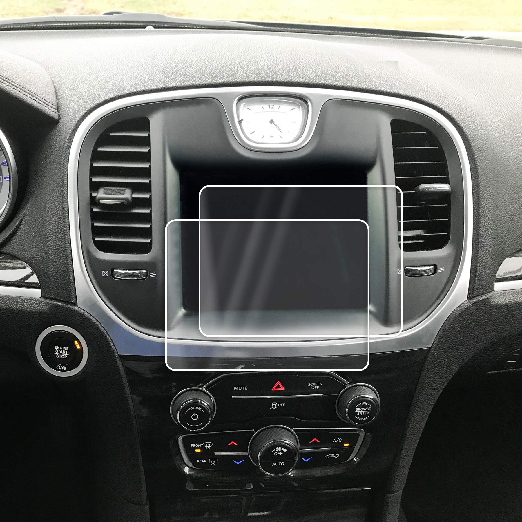 Red Hound Auto Screen Saver 2pc Compatible with Chrysler 300 Uconnect 2011-2019 Invisible High Clarity Touch Display Protector Minimizes Fingerprints 8.4 Inch