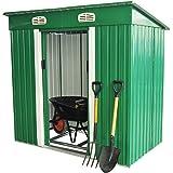 Outsunny - Casetta porta attrezzi da giardino in lamiera in metallo capannone 195x122x180/160 cm