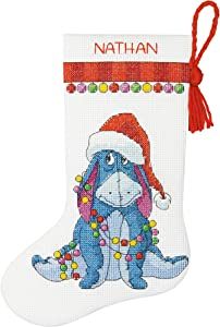 Dimensions Eeyore Christmas Stocking Counted Cross Stitch Kit for Beginners, 14 Count White Aida Cloth, 10''L