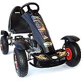 Joy 4Kids Karts à pédales pour enfant Pneus gonflables en caoutchouc 5-10ans Noir