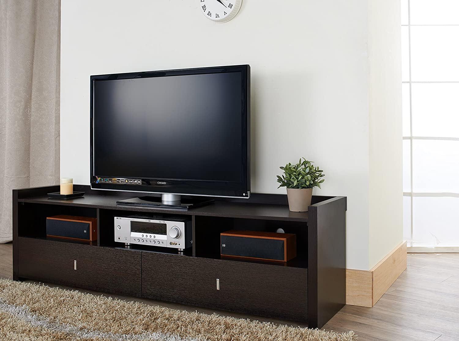 Amazon Com Iohomes Morenti Tv Stand 72 Inch Cappuccino Kitchen  # Meuble Tv Transparent