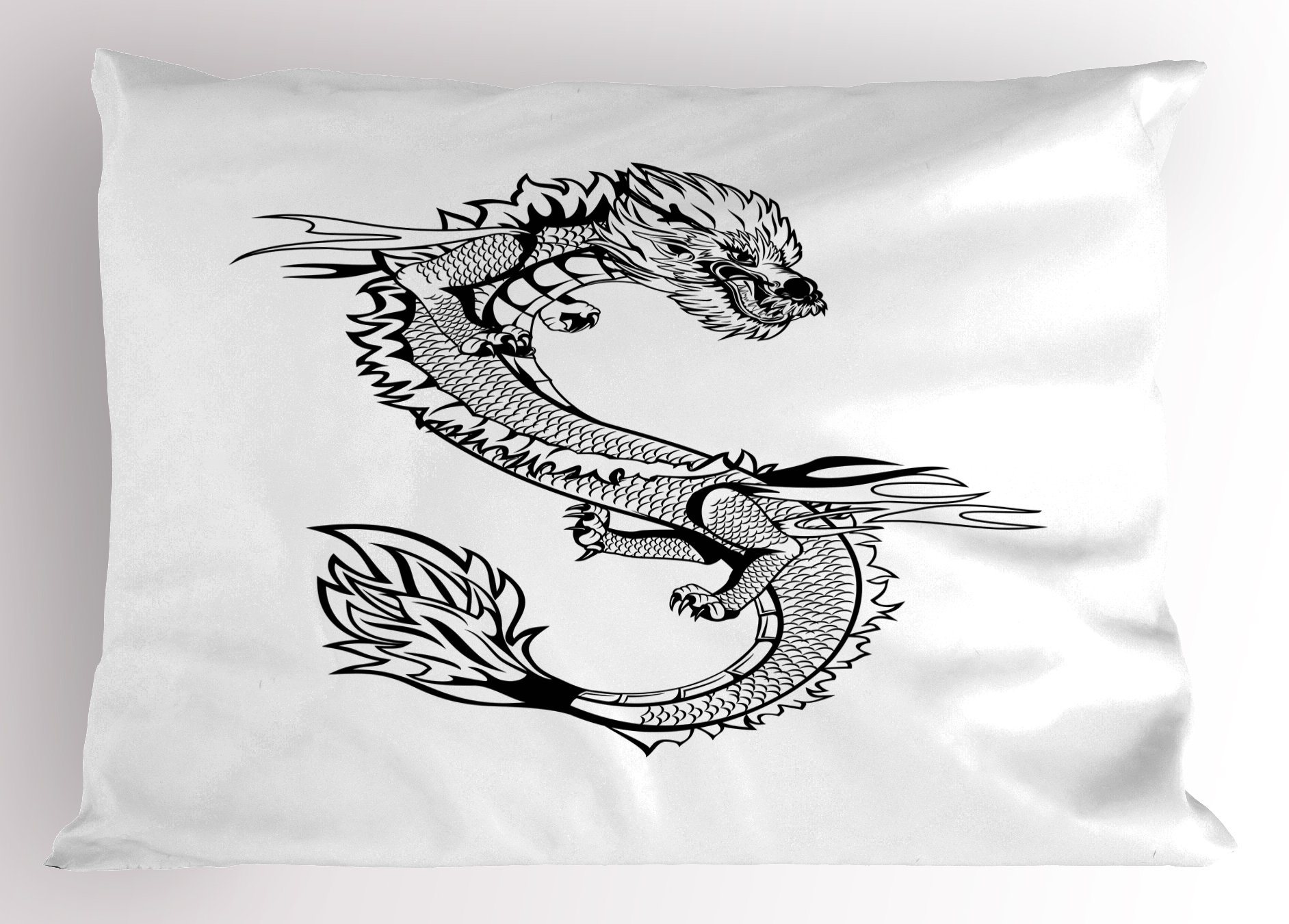 Ambesonne Japanese Dragon Pillow Sham, Ancient Far Eastern Culture Esoteric Magical Monster Symbolic Thai Style, Decorative Standard Queen Size Printed Pillowcase, 30 X 20 Inches, Black White by Ambesonne