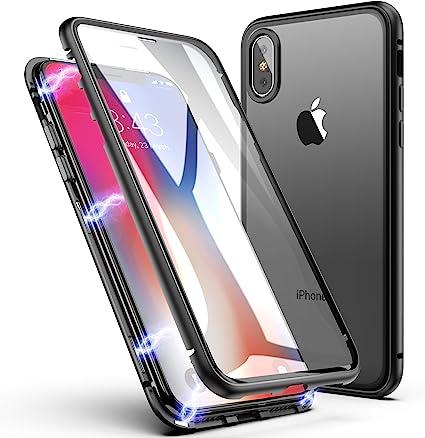 Custodia per iPhone X/XS, Assorbimento Magnetico ZHIKE Design a un pezzo Ultra Sottile Vetro temperato Magnetica Integrata Copertura a schermo intero ...