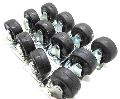 "12 PK 2/"" Swivel Caster WITH BRAKE Wheels Hard Rubber Base Top Plate /& Bearing"