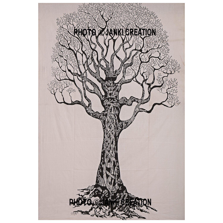 Doble tama/ño Color blanco /árbol de la vida /única colcha tama/ño 55/x 85 por Janki cr algod/ón Mandala Hippie colgante de pared decoraci/ón de la sala de decoraci/ón del hogar indio bohemio Mandala tapiz
