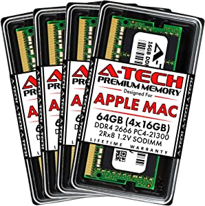 A-Tech 64GB (4x16GB) RAM for Apple 2019 iMac 27 inch Retina 5K | DDR4 2666MHz PC4-21300 SO-DIMM 260-Pin CL19 1.2V Non-ECC Unbuffered Memory Upgrade Kit