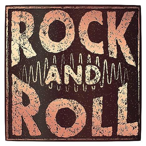 Pegatina de pared Salón de música Motivo Rock and Roll en Estilo retro Imagen musical para