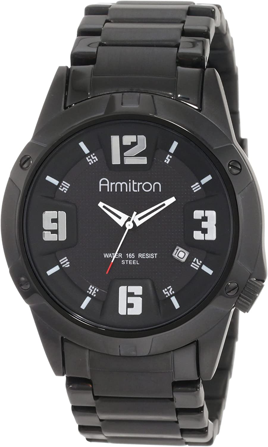 Armitron Men s 204692BKTI Black Plated Stainless-Steel and Black Dial Dress Watch