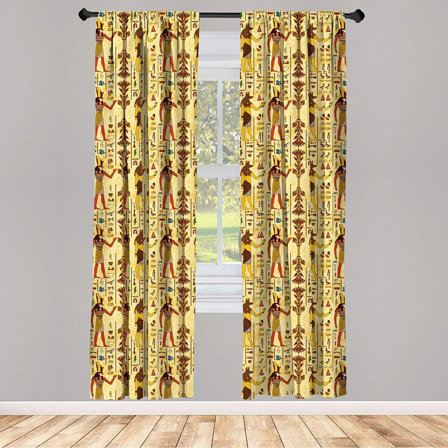 Ambesonne Egyptian Print Window Curtain, Grunge Aged Paper Style Backdrop with Retro Characters and Hieroglyphs, Lightweight Decorative Panels Set of 2 with Rod Pocket, 56 x 63, Rainbow Colors