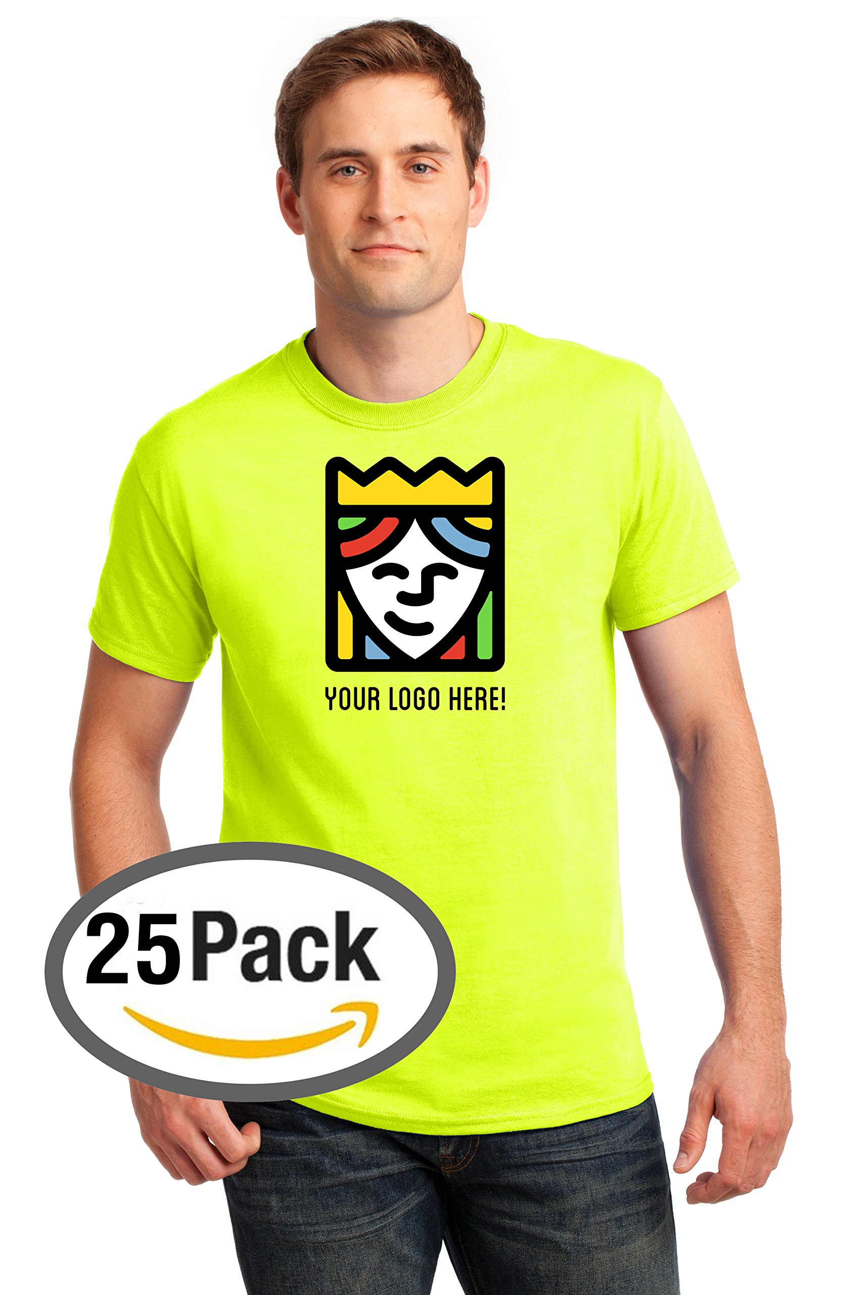 Queensboro Shirt Company Custom Printed Gildan Safety Tee – Multi-Colored Logo – Pack Of 25 by Queensboro Shirt Company