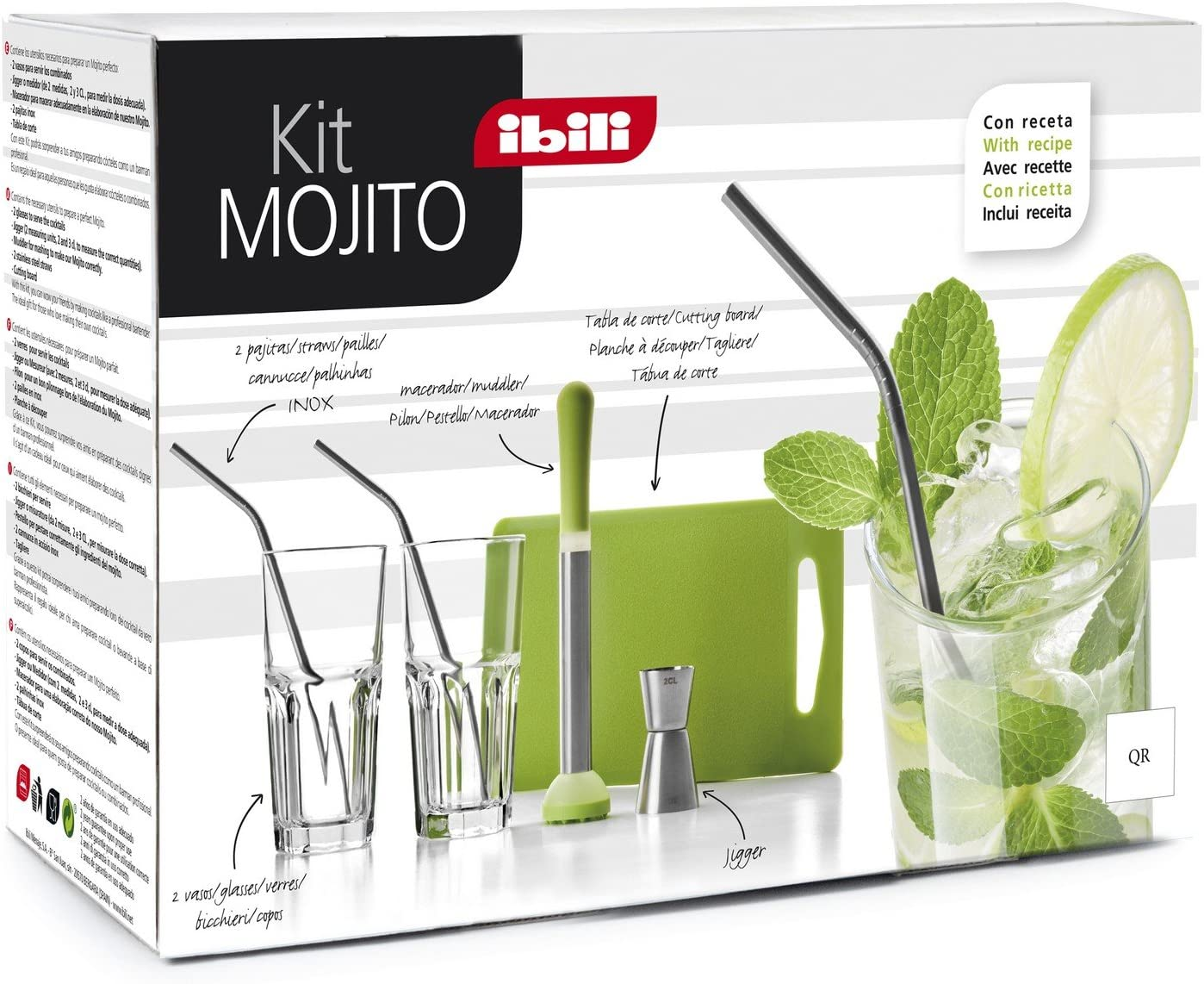 IBILI 798000 – Kit de Mojito Inoxidable/Cristal Claro/Verde 26 x 10 x 18 cm