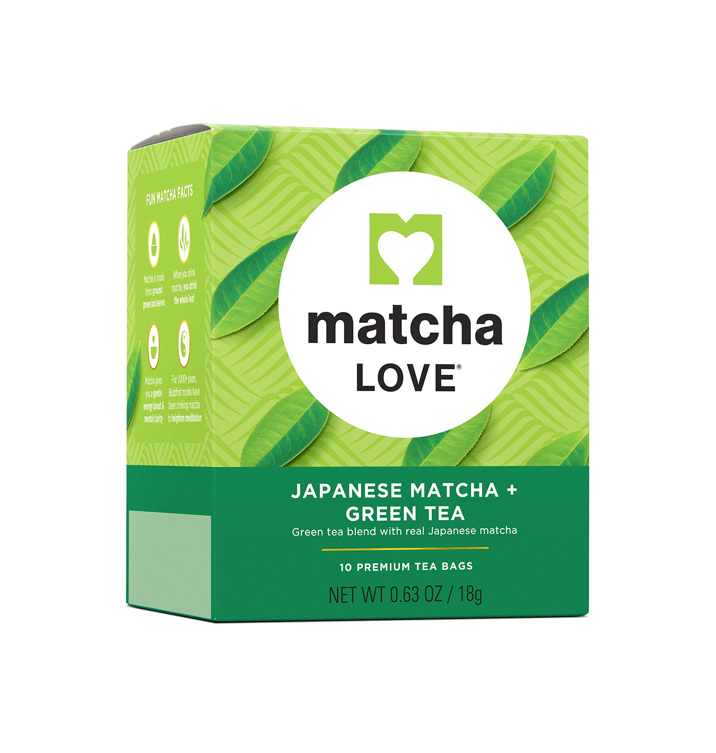 Matcha Love Tea Bags 10 Count (Pack of 10) Zero Calories No Artificial Sweeteners Caffeinated Good Source of Vitamin C and Antioxidants BPA Free by Matcha Love
