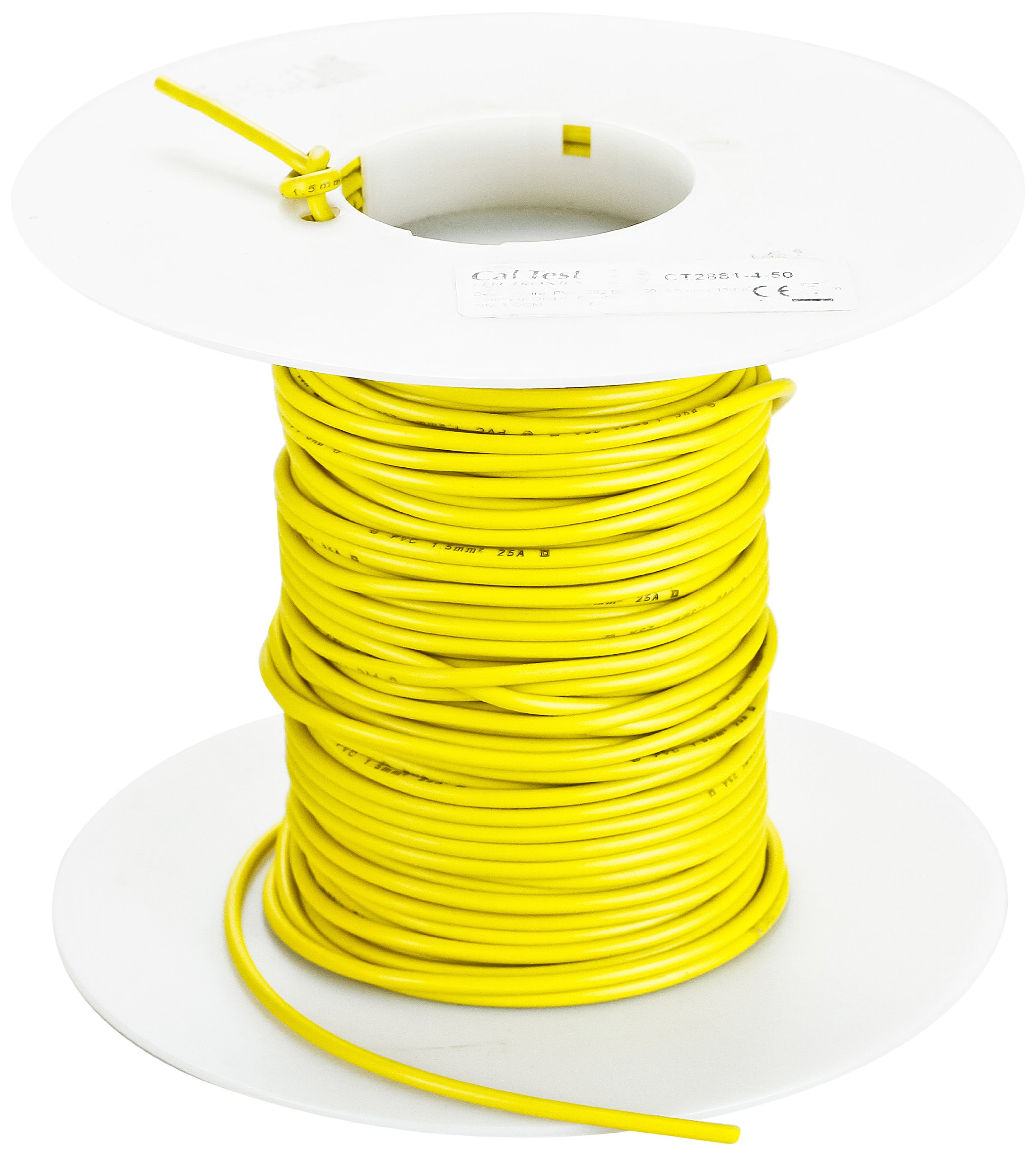 Cal Test Electronics CT2844 Test Lead Wire, 13 AWG, 36 Amp, Silicone Jacket, 2.50 sq mm, 10m Length, Yellow