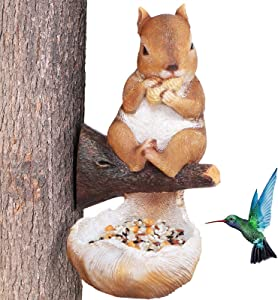 Bird Feeder Garden Decor Outdoor, Squirrel Tree Hugger Garden Sculptures Statues Figurine Decorations Gardening Gifts for Christmas Yard