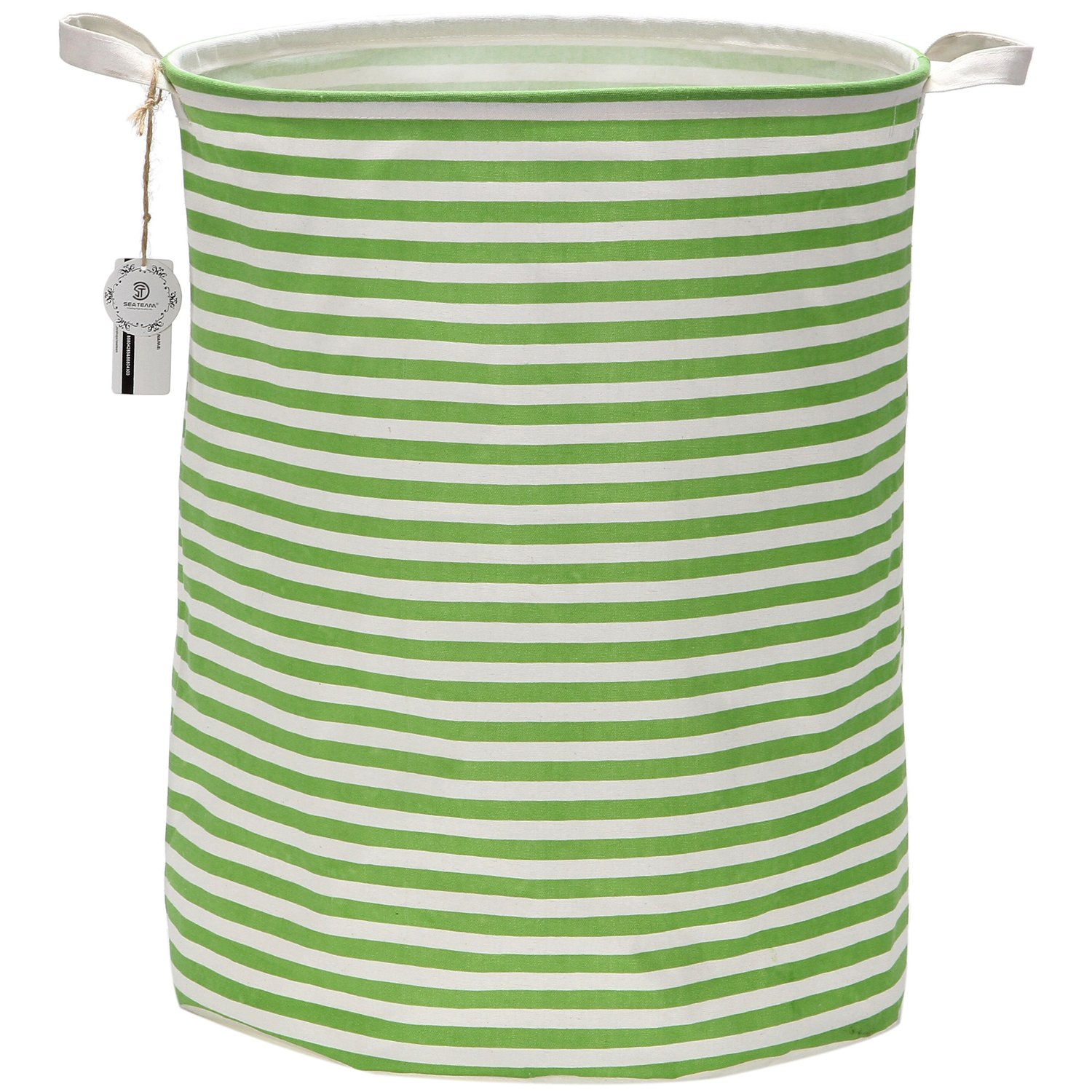 "Sea Team 19.7"" Large Sized Waterproof Coating Ramie Cotton Fabric Folding Laundry Hamper Bucket Cylindric Burlap Canvas Storage Basket with Stylish Greenery & White Stripe Design"