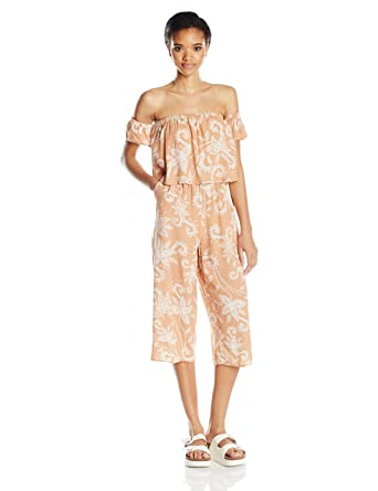 ebb0d7fe920 Amazon.com  MINKPINK Women s Nusa Dua Printed Off Shoulder Jumpsuit ...
