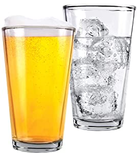 1 Pint Beer Glasses - 2 Pack – Elegant 16 oz Tall Clear Drinking Glass and All Purpose Tumblers – Pub Style Design For Home Dinning, Bars, and Parties – by Kitchen Lux
