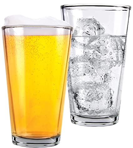 1 Pint Beer Glasses - 2 Pack – Elegant 16 oz Tall Clear Drinking Glass and  All Purpose Tumblers – Pub Style Design For Home Dinning, Bars, and Parties