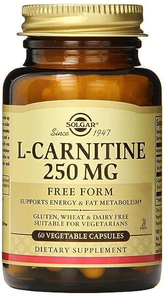 Solgar L-Carnitine Vegetable Capsules, 250 mg, 60 Count