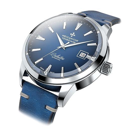 Meccaniche Veneziane Redentore Reloj Automático Suizo Hecho para Hombres con Cuero Italiano (Cobalto Azul)