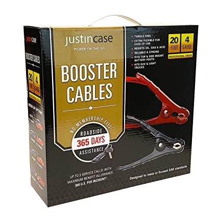 Justin Case Jumper Cables 4 Gauge 20 Feet with 365 days of Roadside Assistance Professional Grade Car Emergency Booster Cables SAE
