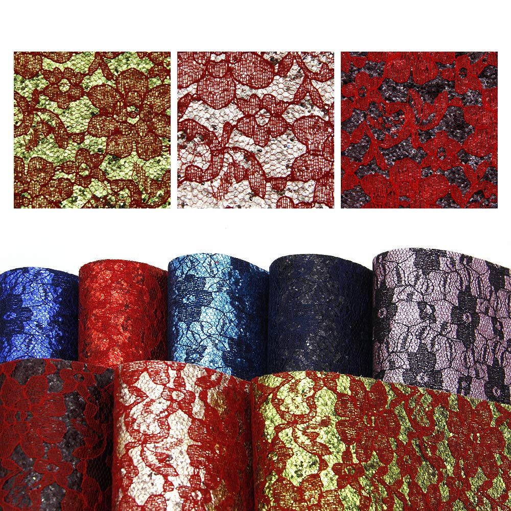 11 Color David accessories Glitter Sequins Fabric Faux Leather Sheets Synthetic Leather Fabric 11 Pcs 8 x 13 Assorted Colors Thick Canvas Back Craft for DIY Earrings Making 20 cm x 34 cm