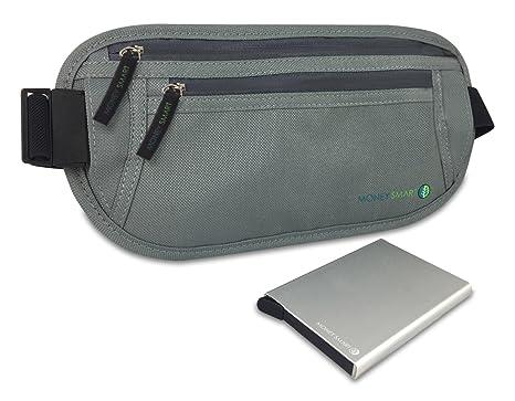 Money Smart Cinturón Porta Dinero-Documentos Oculto y Cartera con Bloqueo RFID (Pack de