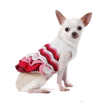 Amazoncom Pink Maroon Wavy Dog Dresses Pet Clothing Yorkie