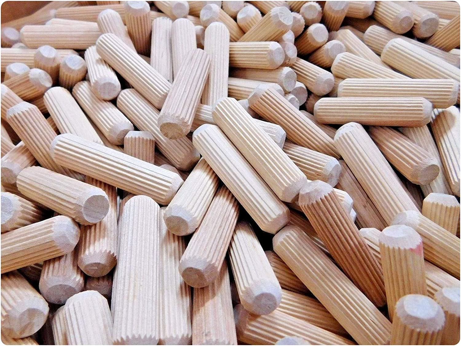 50 Pcs Fluted Wooden Dowel Pins 1//2 x 2 for Furniture