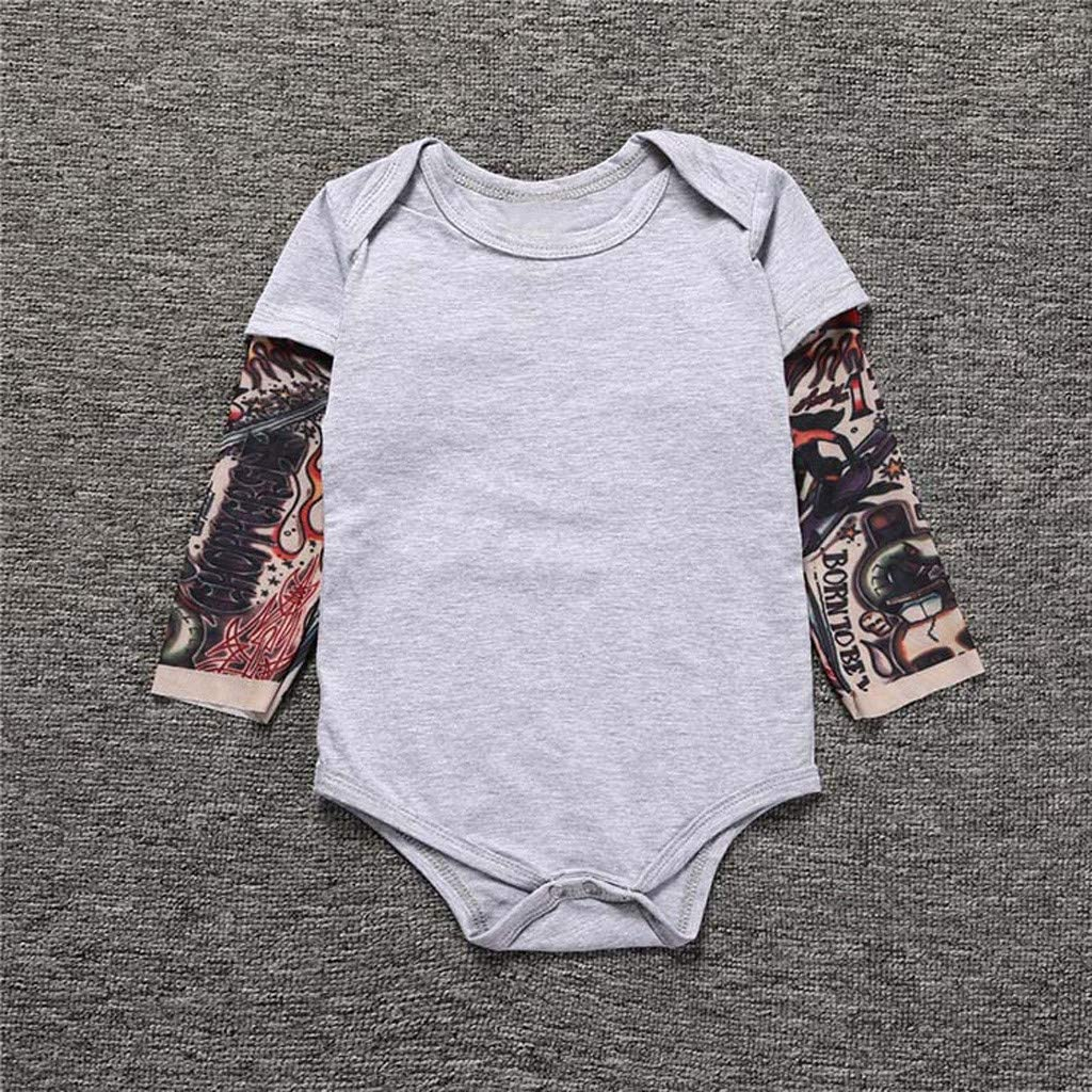Gray, Age:3-6 Months Snlaevx Newborn Baby Boy Cotton Patchwork Romper Tattoo Printed Long Sleeve Soft and Comfortable Autumn Bodysuit