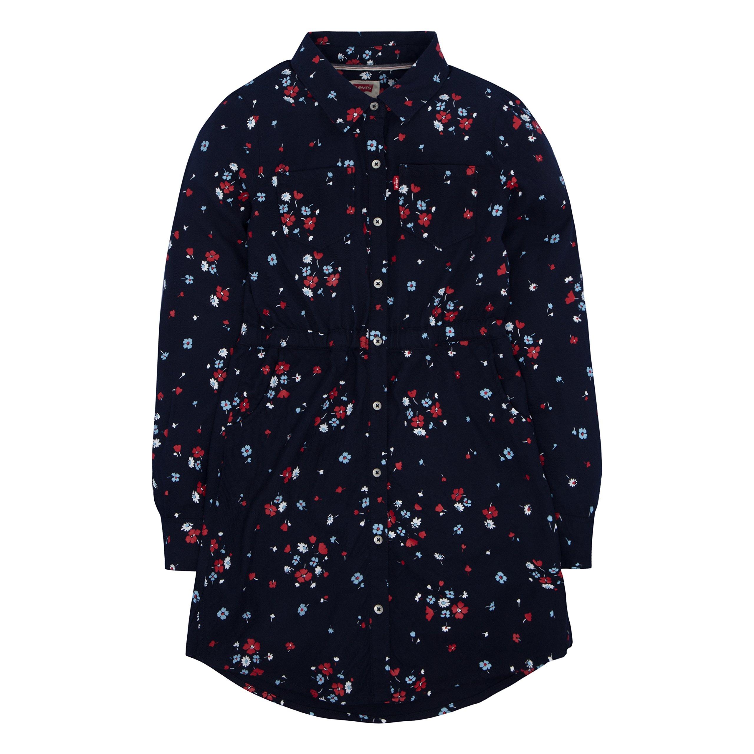 Levi's Little Girls' Long Sleeve Western Dress, Navy Blazer, 6X