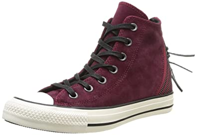 7743a0936964ef Converse Womens Chuck Taylor All Star Femme Burnished Suede Tri Zip HI  Trainers 381940 18 Burgundy